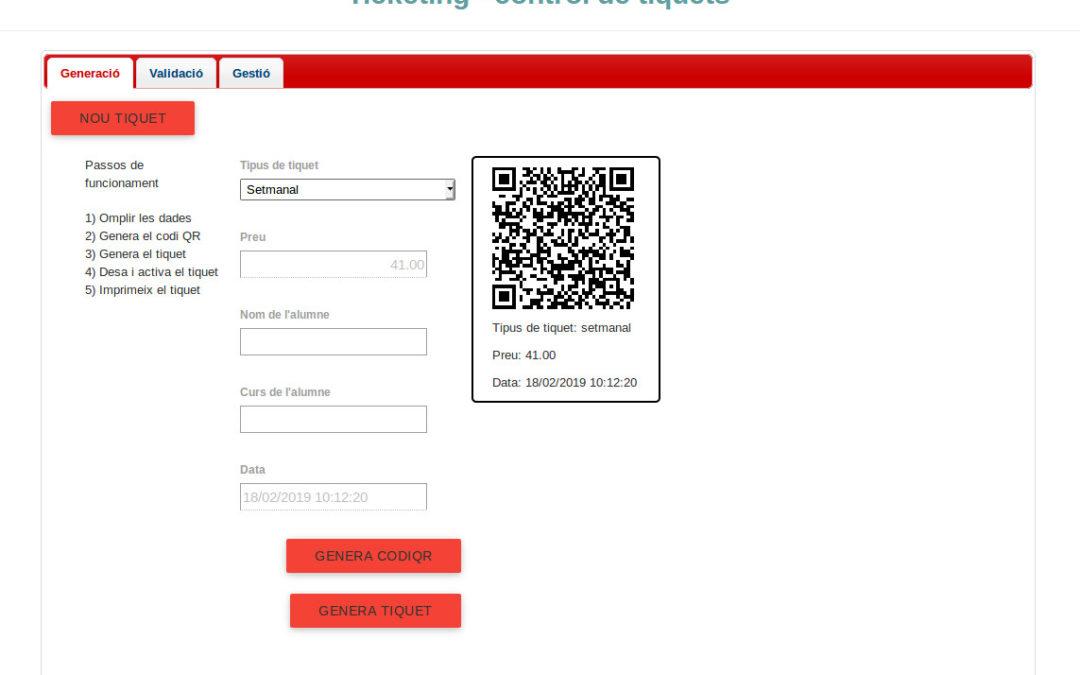 Aplicació de tiquets per control d'accés amb codis QR