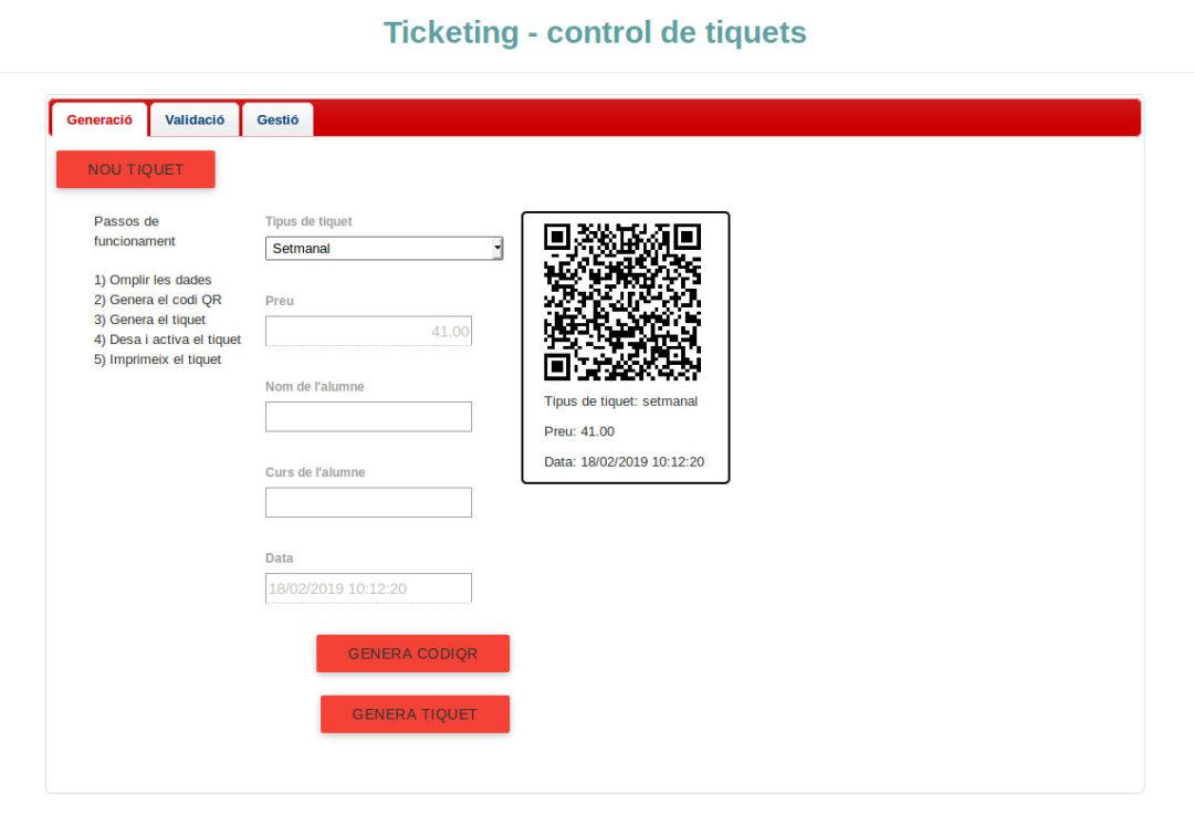 programa control acces tickets amb codis qr