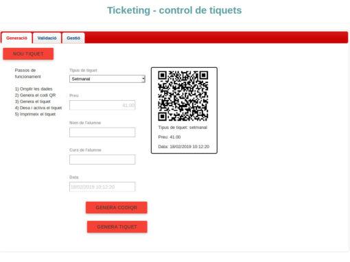 Aplicació de control amb tiquets QR
